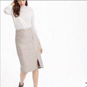 J.Crew zip front tweed zip front pencil skirt